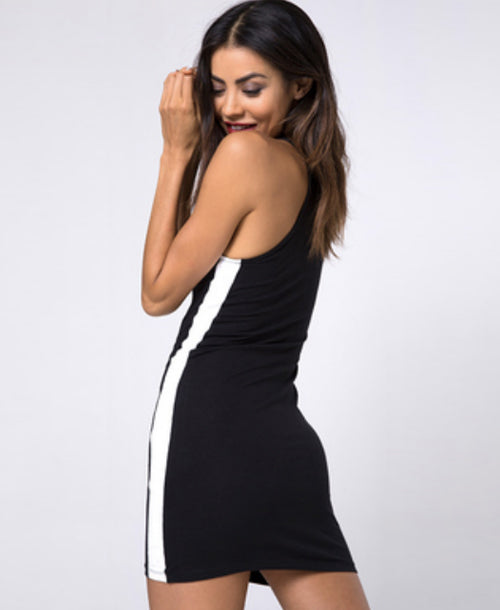 Zena Bodycon Stripe Dress Black / White - Dresses - Motel Rocks - Dakota Collective
