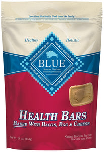 Blue Health Bars Baked With Bacon, Egg and Cheese Dog Treats