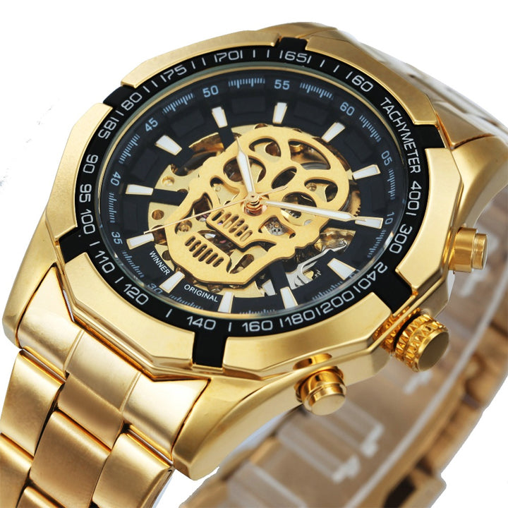 Luxury Mechanical Watch with Skull Design