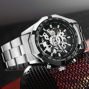 Full Stainless Steel Skeleton Mechanical Watch