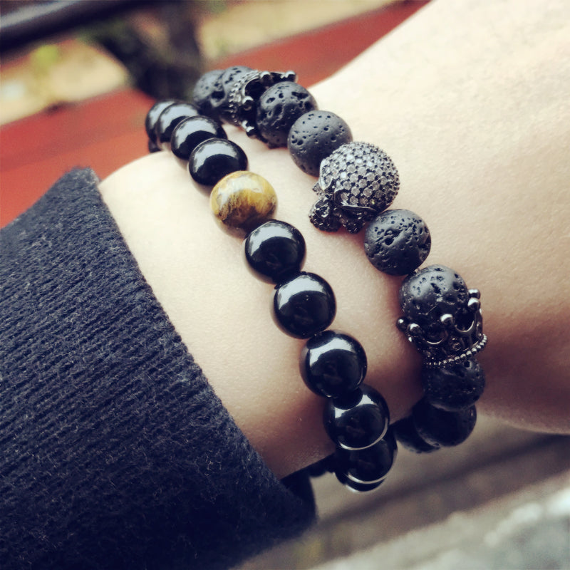 Natural Beads Bracelet with Skeleton Skull & Black Lava Rock Stone