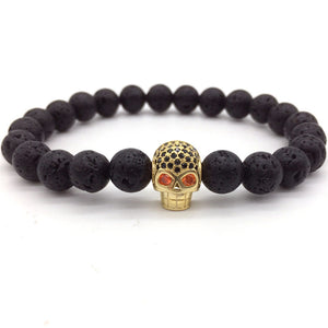 Exclusive Trendy Skull Charm Bracelet with Lava Stone