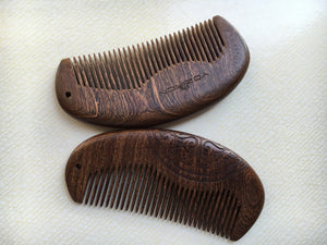 Sandalwood Pocket Comb with Wooden Carving