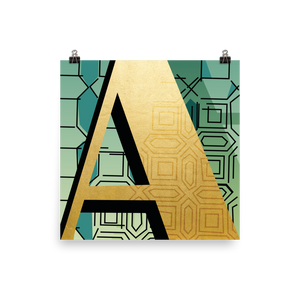 Golden Letter A - square print