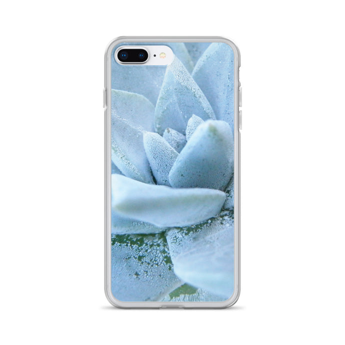 iPhone 7 Plus/8 Plus case featuring a soft powdery blue highly detailed macro photo of a succulent plant. The photo was taken on one of the most remote National Parks in the U.S, Santa Cruz Island, Channel Island. Sale price twenty dollars.