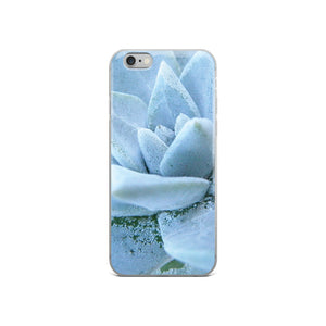 iPhone 6 Plus/6s Plus case featuring a soft powdery blue highly detailed macro photo of a succulent plant. The photo was taken on one of the most remote National Parks in the U.S, Santa Cruz Island, Channel Island. Sale price twenty dollars.