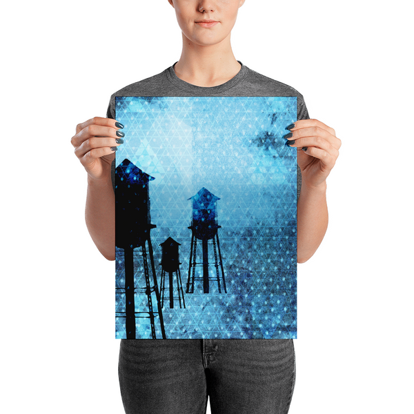Mixed media illustration using digital art, cut paper and drawing, of NYC water towers on a textured background. Deep blues and geometric shapes combine to create a beautiful paper poster. A statement in any room, light blue hues mix with a dotted pattern create visual depth and feeling.