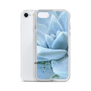 iPhone 7/8 case featuring a soft powdery blue highly detailed macro photo of a succulent plant. The photo was taken on one of the most remote National Parks in the U.S, Santa Cruz Island, Channel Island. Sale price twenty dollars.