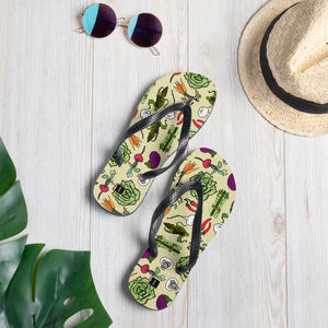 Powered by Veggies! Vegetable Pattern Flip-Flops