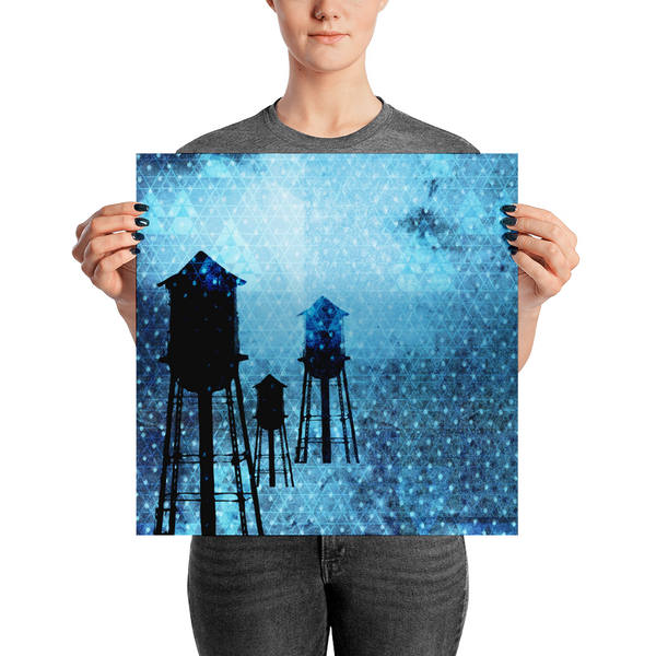 Water Towers at Night NYC | paper poster
