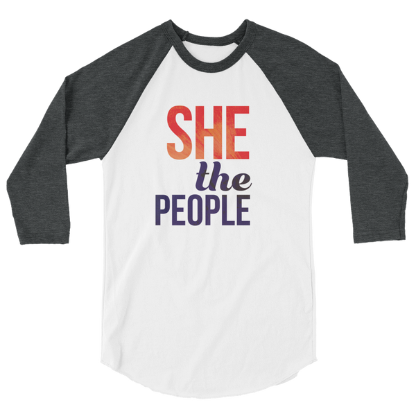 She The People. Classic baseball raglan shirt. 3/4 inch sleeve, ribbed neck.
