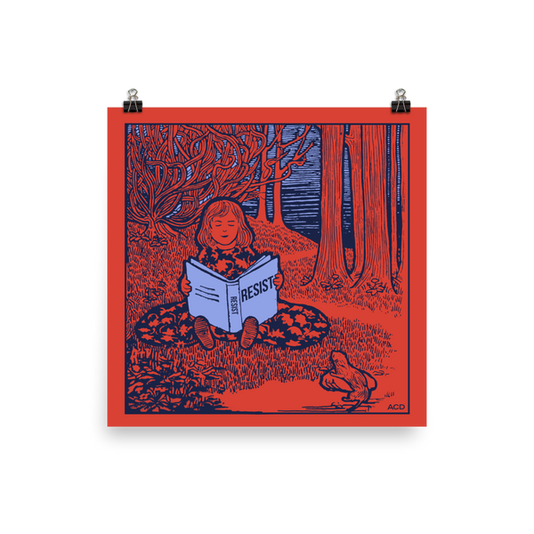 This print of our in house illustration features a bright red background with a dark blue illustration of a little girl reading a book called Resist. The book and sky are bright lavender blue. A statement in any room, this museum-quality poster has vivid color saturation and is printed on thick and durable matte paper.