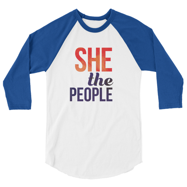 She The People. Blue sleeved raglan, stylish. Stand up and vote.