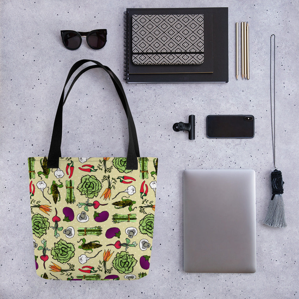 Powered by Veggies - Vegetable Pattern Tote Bag Vegan Design