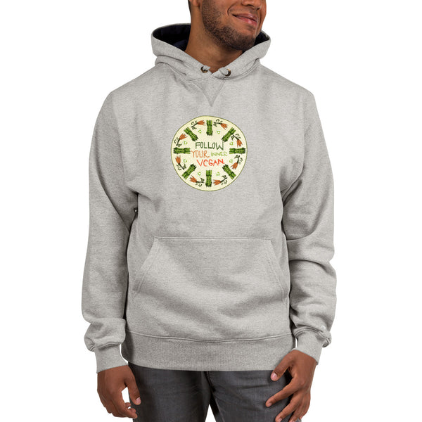 Follow Your Inner Vegan Hoodie - Vegetable Garden Mandala Design 100% Champion