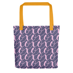 Mama's got a brand new bag! Check out the XOXO pattern, made with love by mom's for mom's. Purple and soft pink hand spun tote, 15x15 with dual yellow handles.