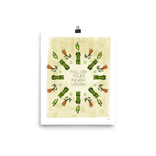 Follow Your Inner Vegan! A perfect present for your Vegan friends and family this Holiday season. This print design features hand-drawn carrots, asparagus, and pepper illustrations. It is museum-quality with vivid printing produced on thick and durable matte paper. Featuring rich greens, yellows and oranges this is a sweet sentiment for any room.