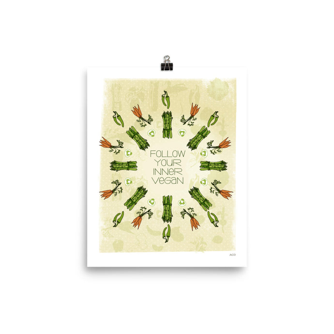 Follow Your Inner Vegan! Print design with hand-drawn type, carrot, asparagus, and pepper veggie illustrations. Museum-quality poster with vivid print made on thick and durable matte paper designed with hand-drawn veggies. Featuring rich greens, yellows and oranges this is a statement in any room.