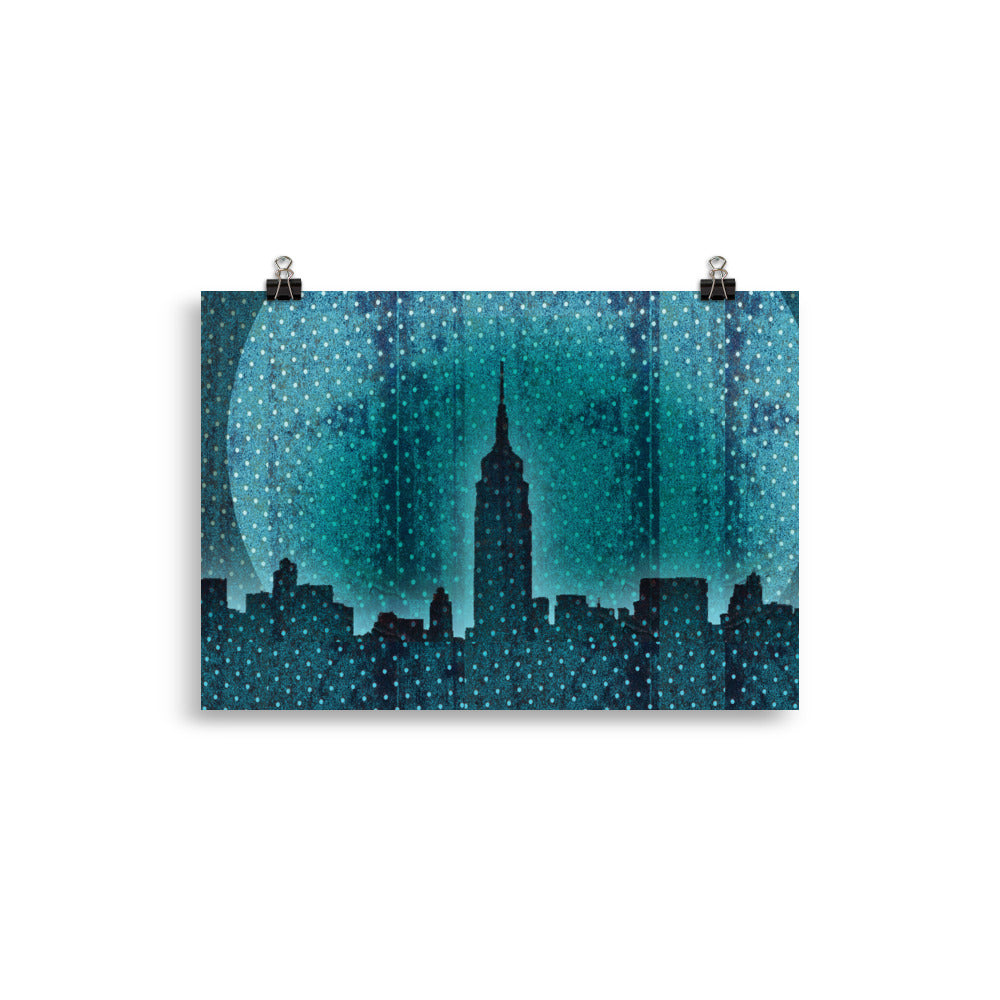 Digital mixed media illustration of a deep blue glowing Manhattan skyline at dusk with a setting bright blue full moon in the background. The poster features a layered dotted texture that adds lavender undertones. Printed on matte, museum-quality, durable paper, this is an artistic statement in any room.