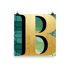 Golden Letter B - square print