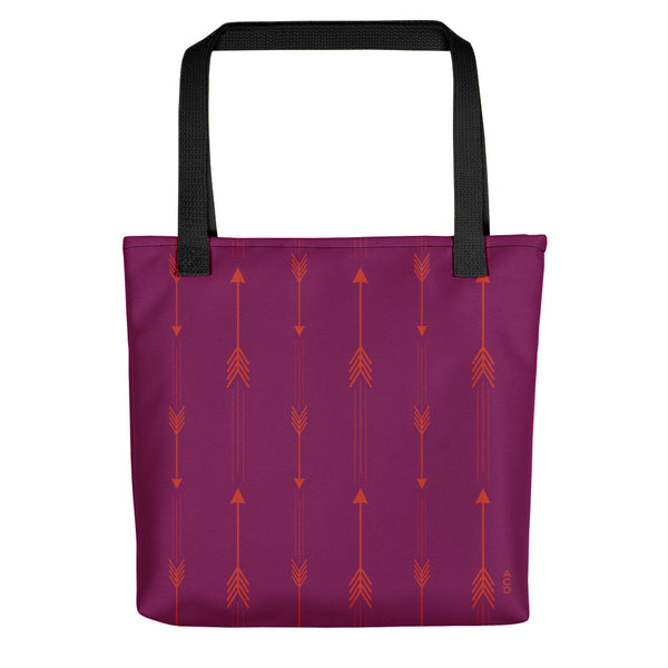 Purple and red arrow tote, original design by ACD. 100% spun polyester weather resistant fabric