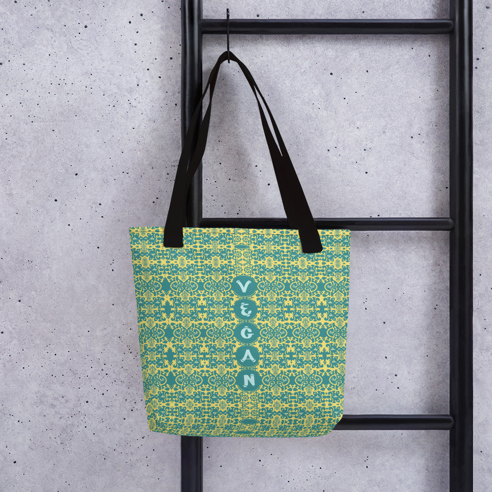 This is a spacious and trendy tote featuring the word