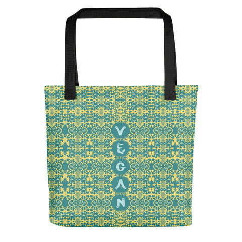 "This is a spacious and trendy tote featuring the word ""Vegan"" in light blue, painterly lettering. The pattern of teal, yellow, and blue looks great while carrying around everything that matters."