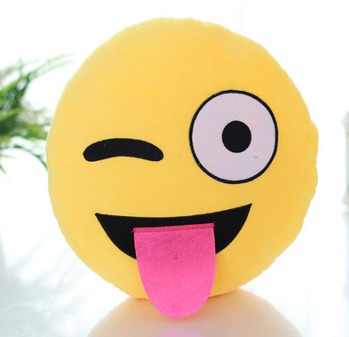 Winking & Tongue Out Emoji Cushion