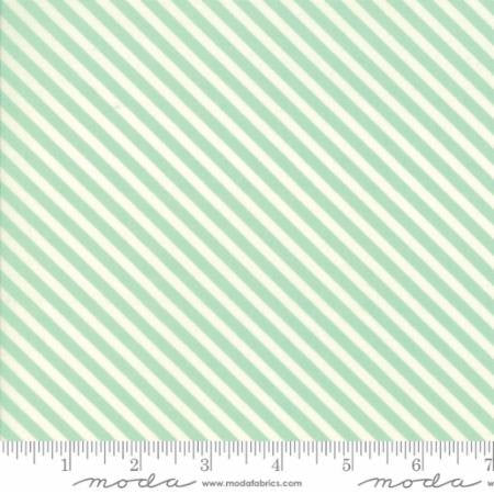 Handmade Candy Stripe in Aqua by Bonnie and Camille for Moda