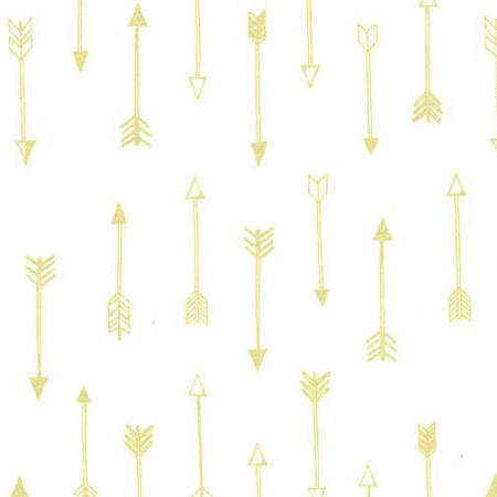 Michael Miller Metallic Gold Arrows on White by the HALF yard,  MC6990-BWHT-D
