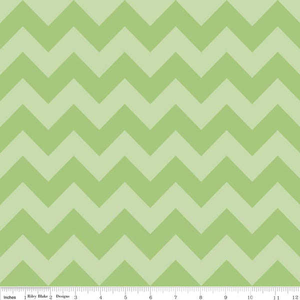Riley Blake Medium Chevron Green on Green by the HALF yard, C380-31 Green