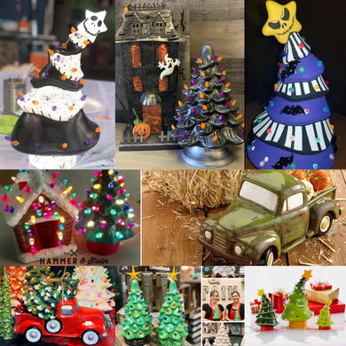 9/26/2019 (6:30 pm) Vintage Style Ceramic Christmas Trees