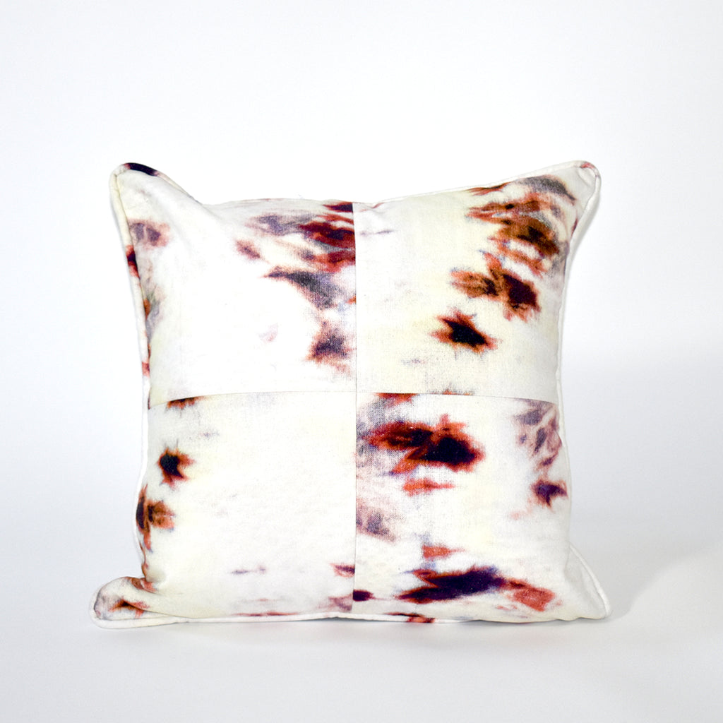 Vortex Tie Dye Throw Pillow - 18x18 Inch, Ivory and Rust