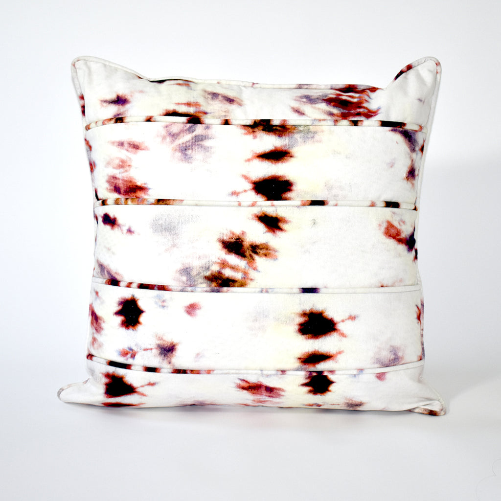 Vortex Tie Dye Throw Pillow - 24x24 Inch, Ivory and Rust