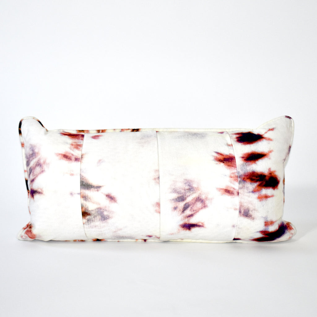 Vortex Tie Dye Throw Pillow - 12x24 Inch, Ivory and Rust