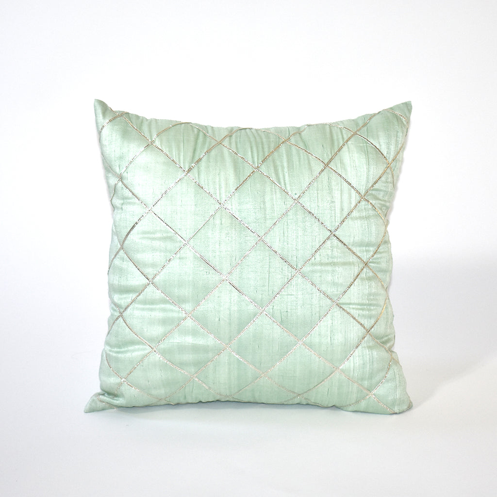 Silver Linings Embellished Throw Pillow, 18x18 Inch, Mint Green