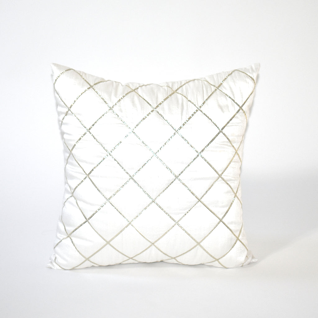 Silver Linings Embellished Throw Pillow, 18x18 Inch, White