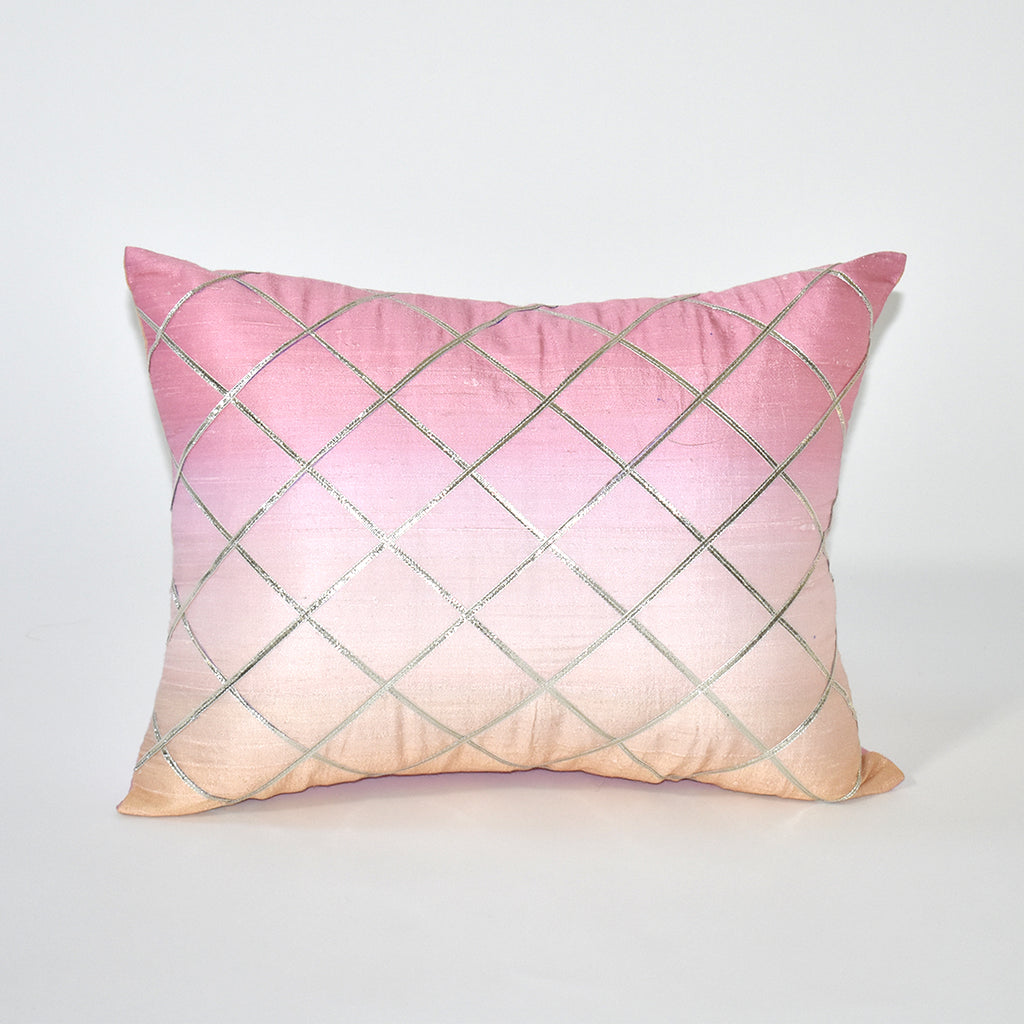 Ombre Embellished Throw Pillow, 12x16 Inch, Pink