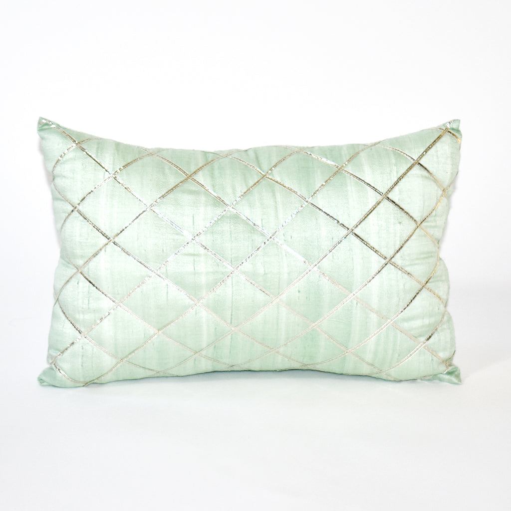 Silver Linings Embellished Throw Pillow, 12x16 Inch, Mint Green