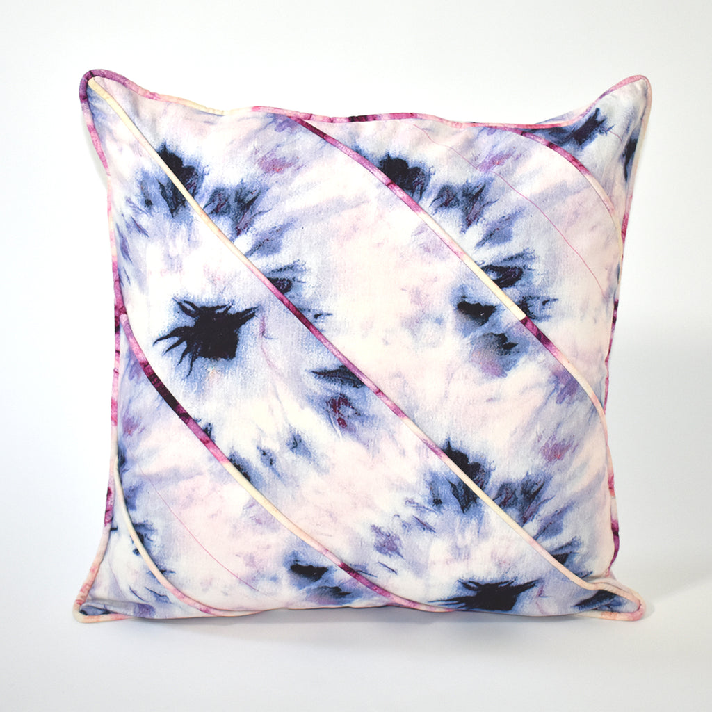 Bullseye Tie Dye Throw Pillow, 24x24 Inch, Lavendar and Pink