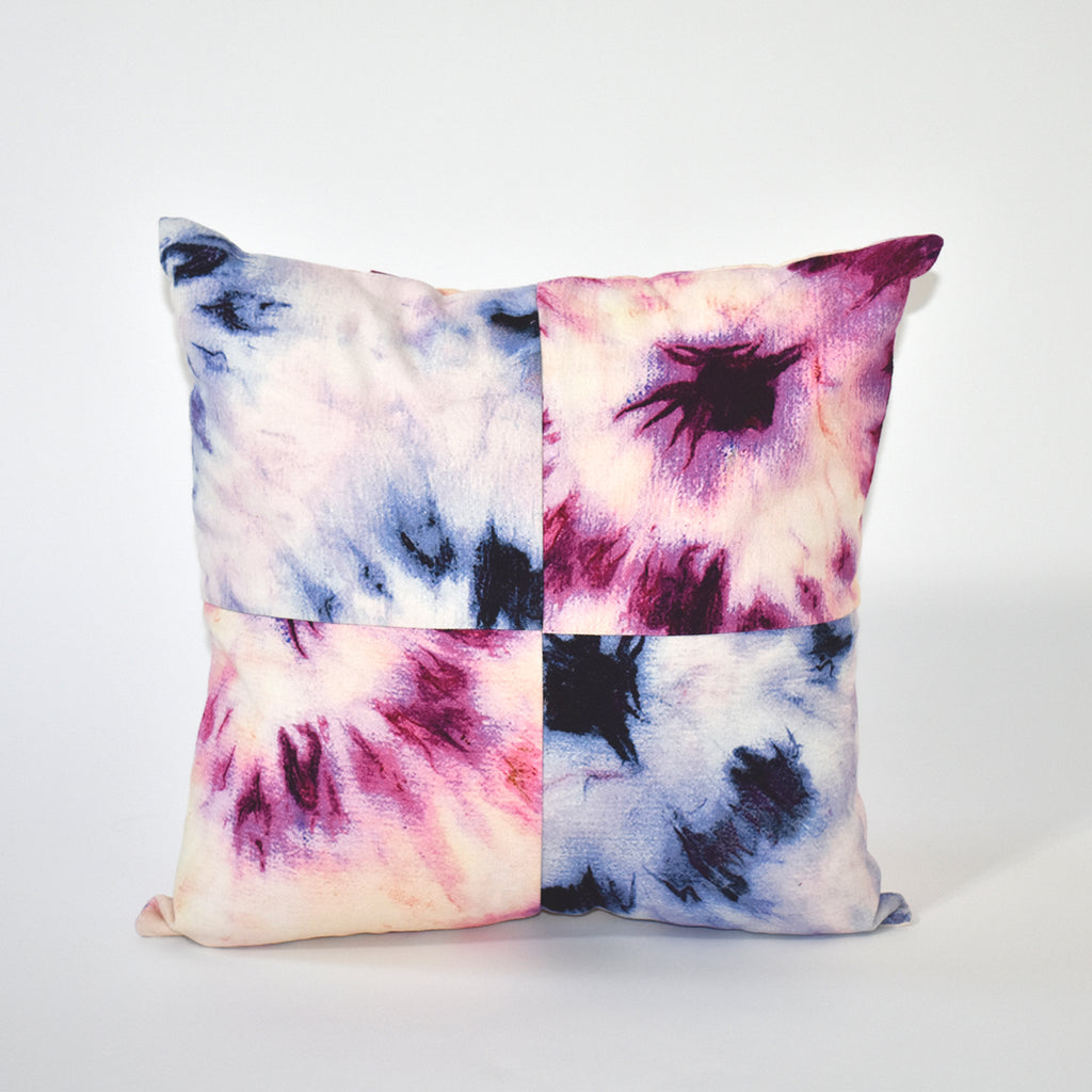 Bullseye Tie Dye Throw Pillow, 18x18 Inch, Lavendar and Pink