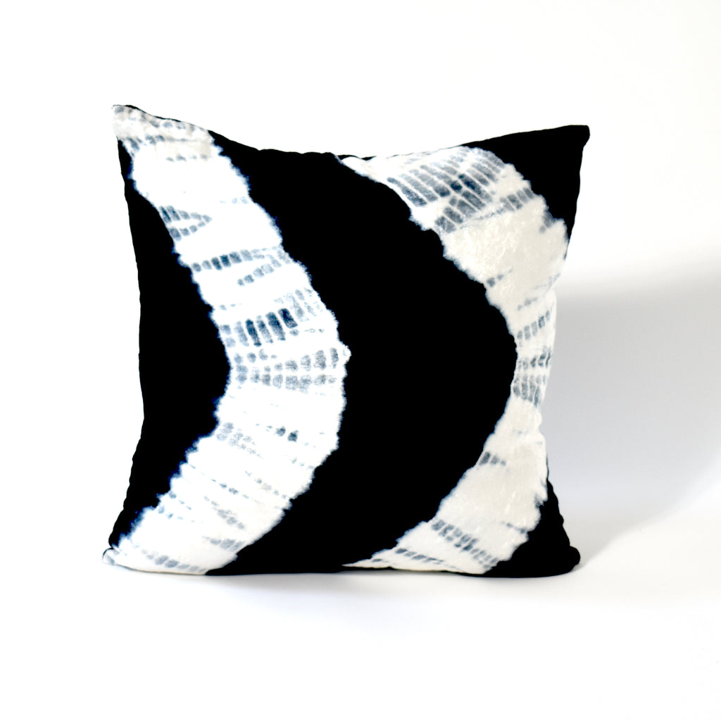 Electric Tie Dye Velvet Throw Pillow, 18x18 Inch, White and Black