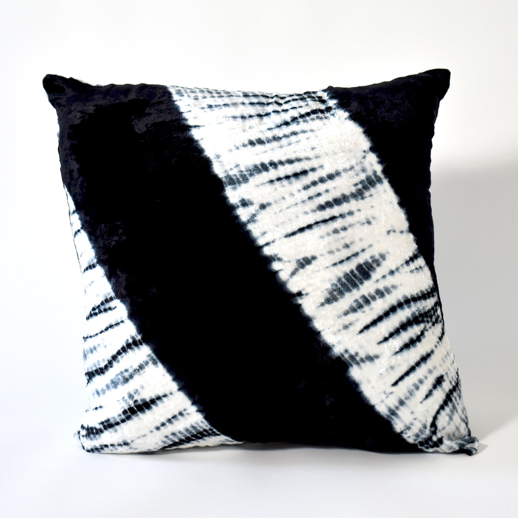 Electric Tie Dye Velvet Throw Pillow, 22x22 Inch, White and Black