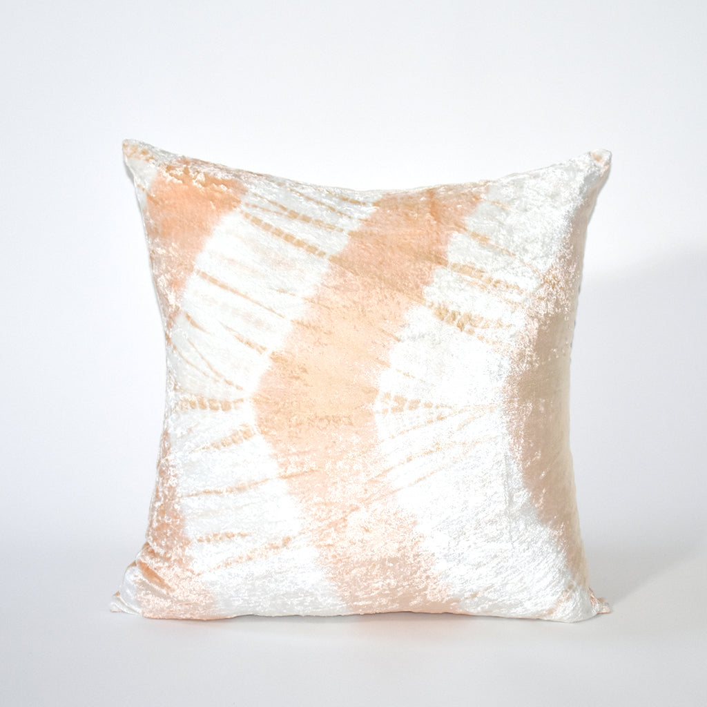 Electric Tie Dye Velvet Throw Pillow, 20x20 Inch, Ivory and Blush