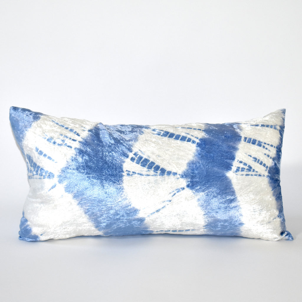 Electric Tie Dye Velvet Throw Pillow, 12x24 Inch, Ivory and Blue