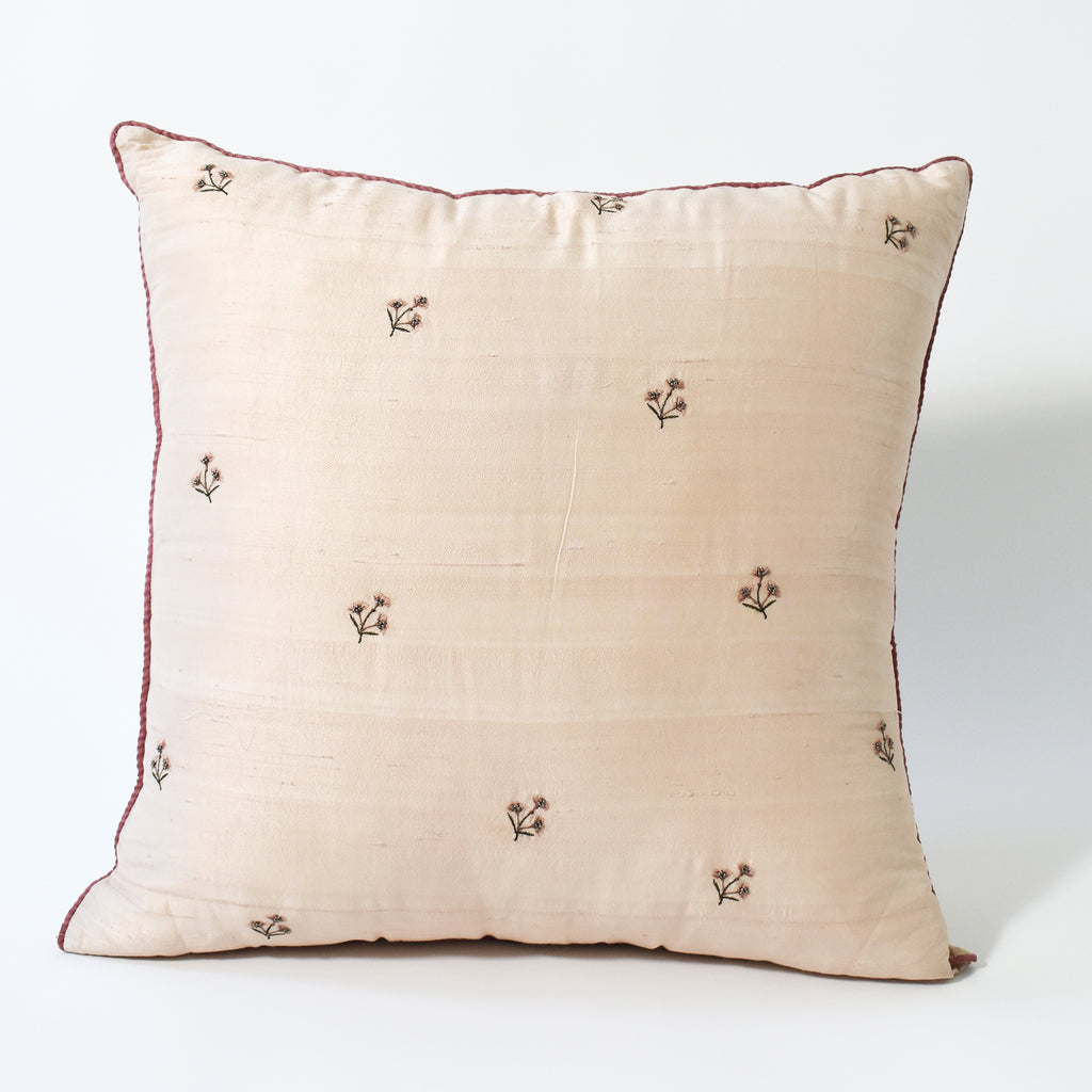Embroidered Floral Throw Pillow, 24x24 Inch, Light Pink