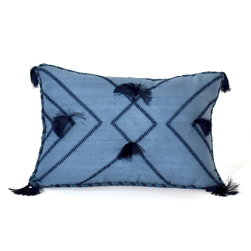 Embroidered Tassel Throw Pillow, 12x18 Inch, Blue
