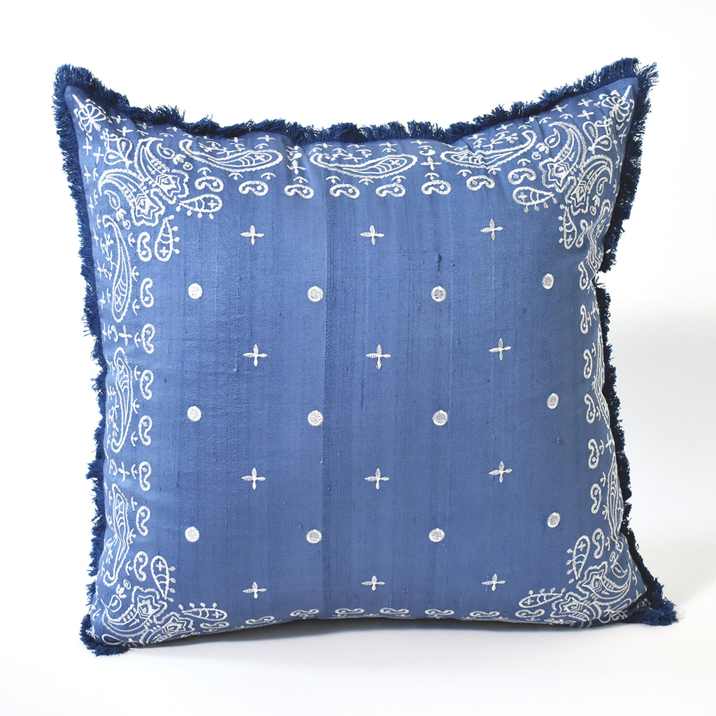 Embroidered Bandana Throw Pillow, 24x24 Inch, Navy