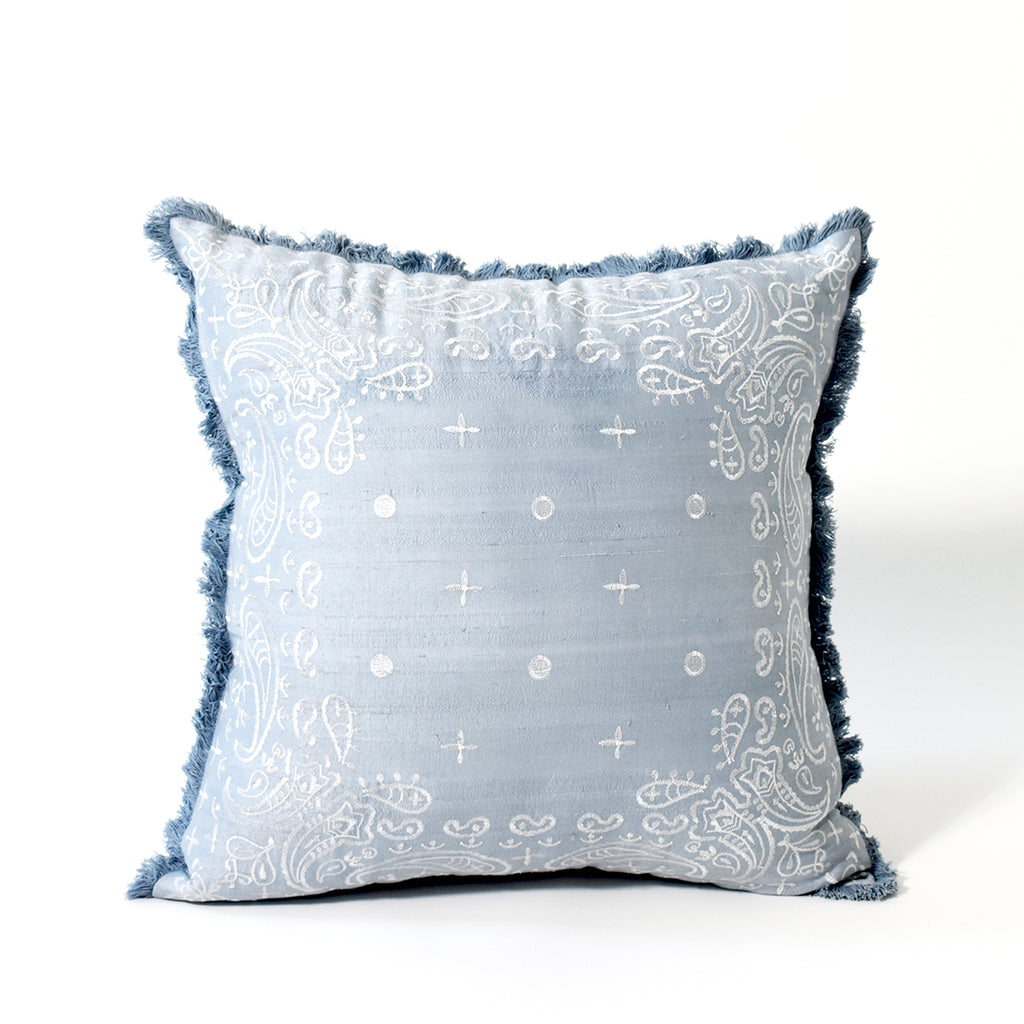 Embroidered Bandana Throw Pillow, 18x18 Inch, Light Blue