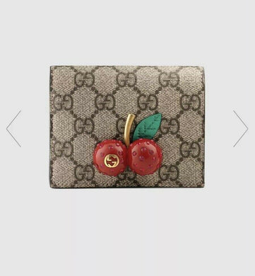 AUTHENTIC GUCCI SUPREME CHERRY WALLET CARD HOLDER CASE WITH CHERRIES